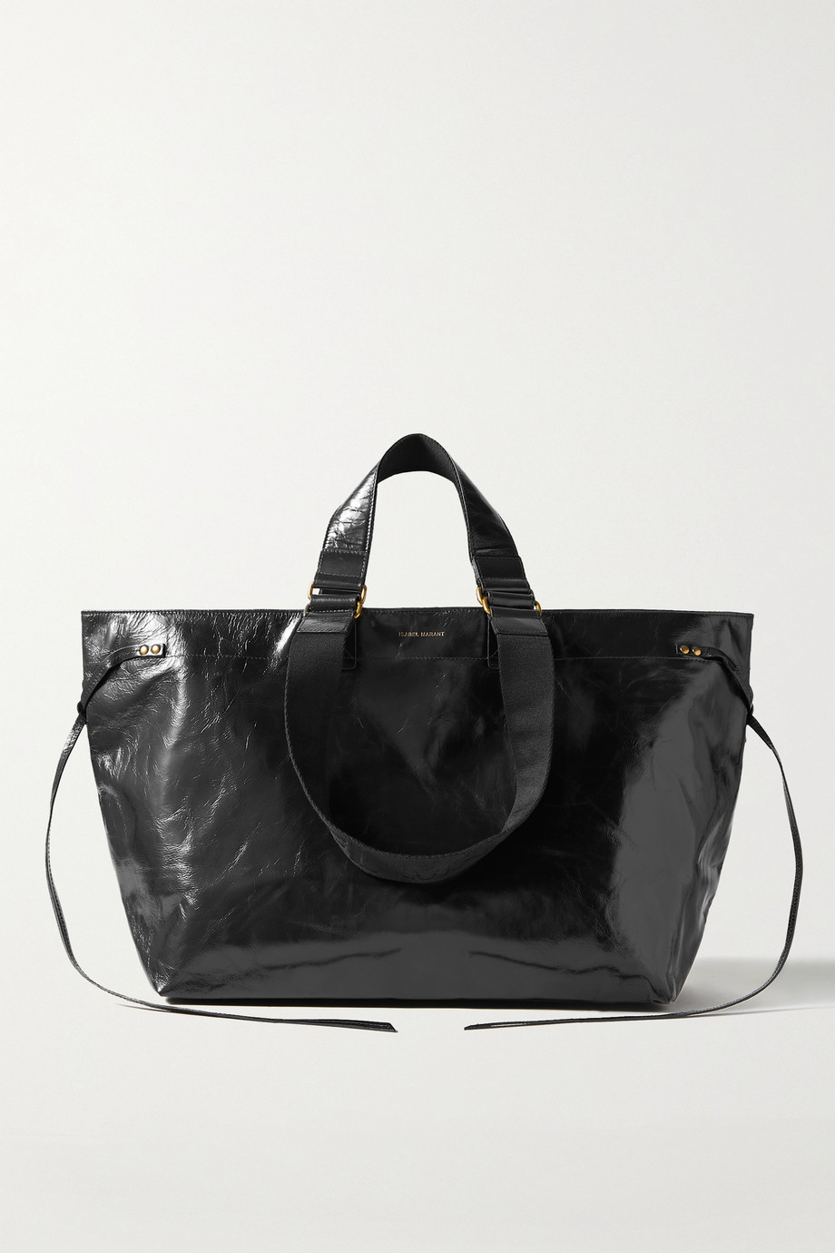 Isabel Marant Wardy crinkled patent-leather tote