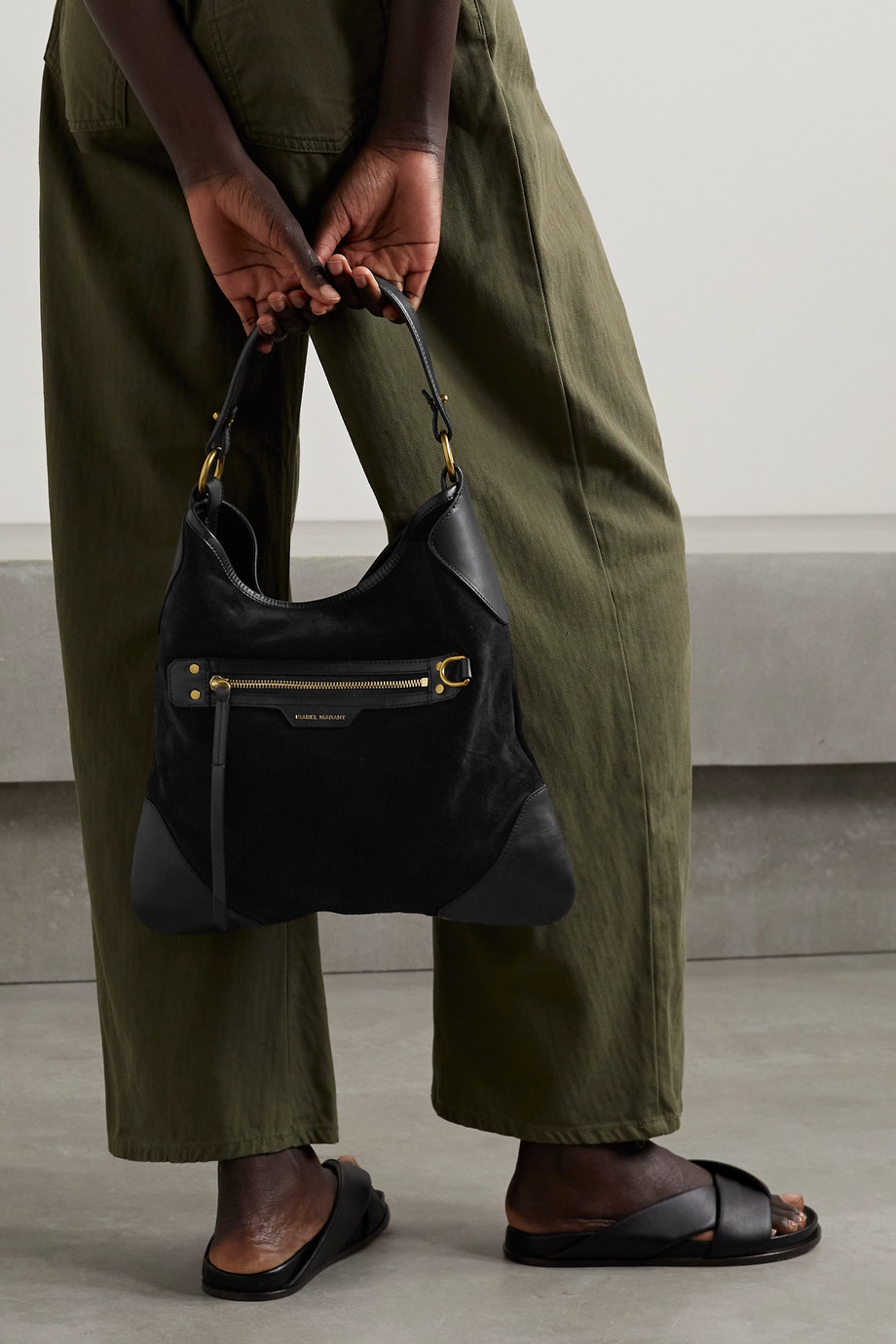 Isabel Marant Amuko large leather-trimmed suede tote