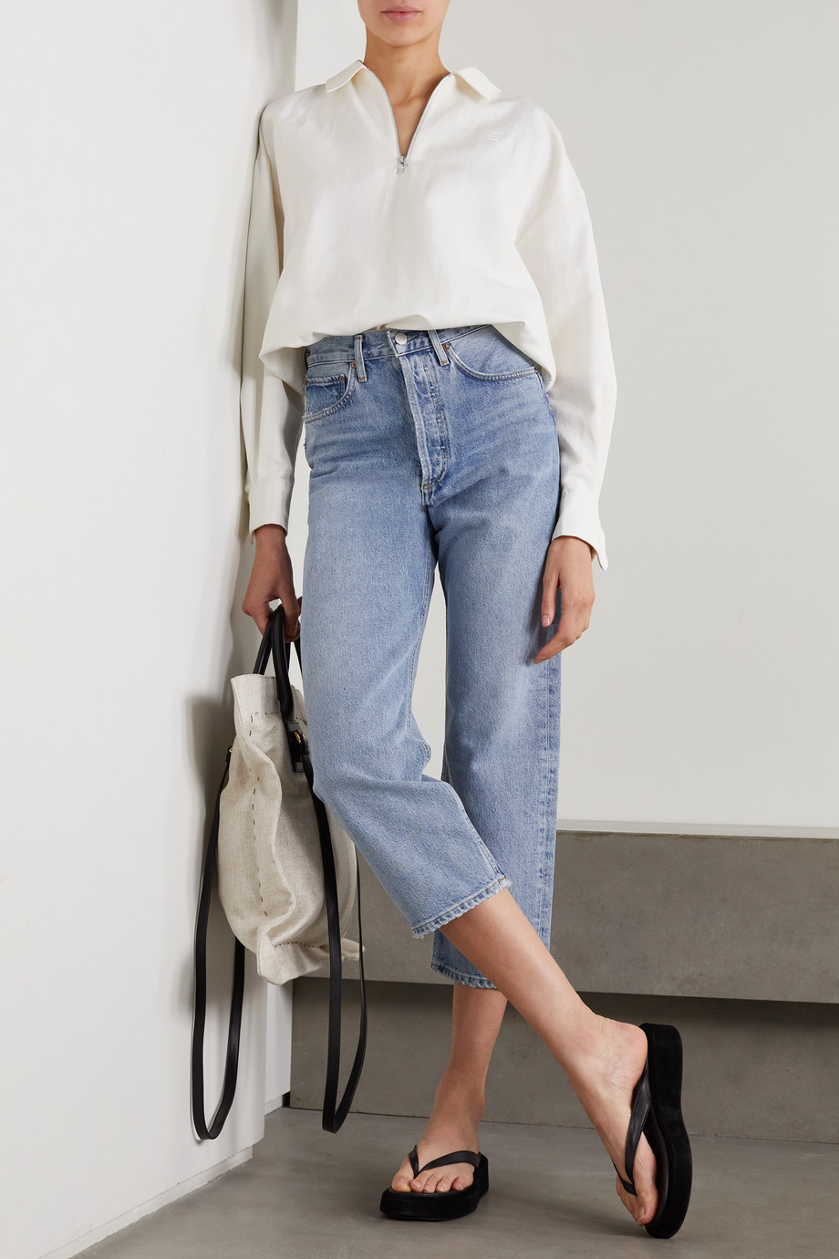 AGOLDE + NET SUSTAIN '90s cropped organic high-rise straight-leg jeans