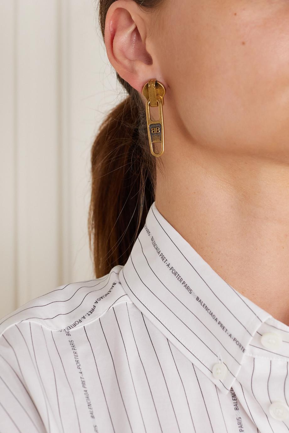 Balenciaga Boucles d'oreilles dorées Zip