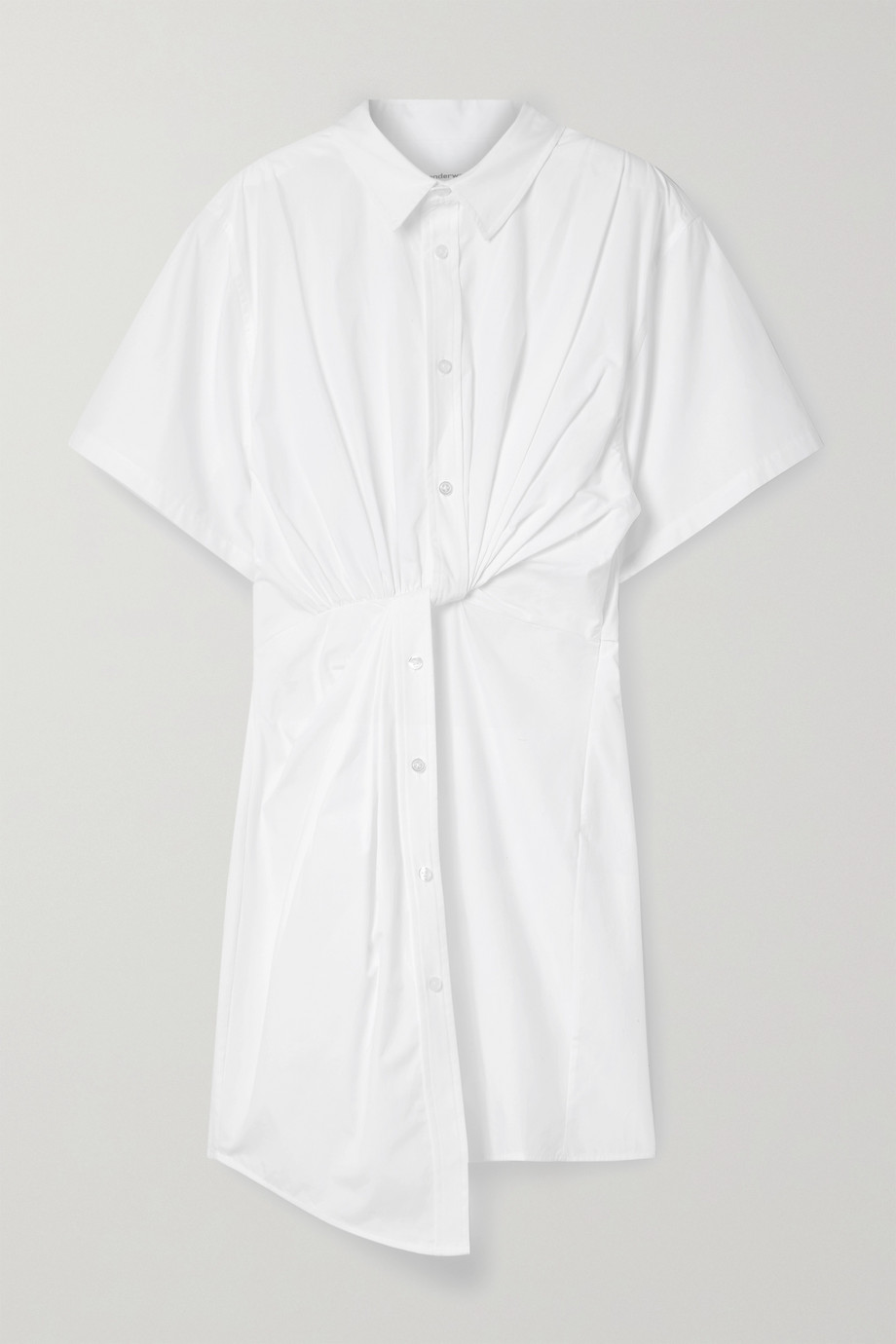 alexanderwang.t Twist-front cotton-poplin mini shirt dress