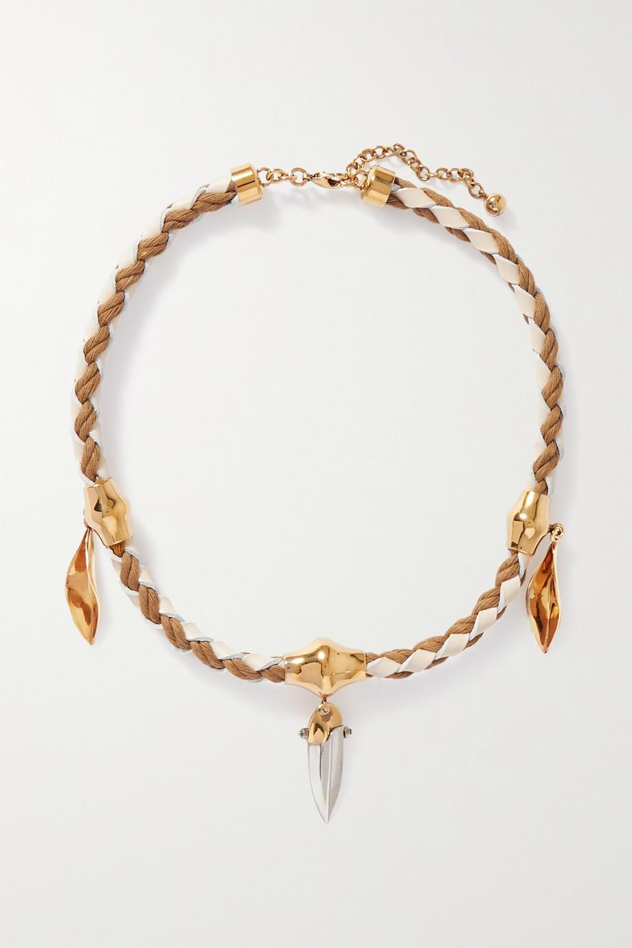Chloé Collier en cuir, coton et métal doré et argenté