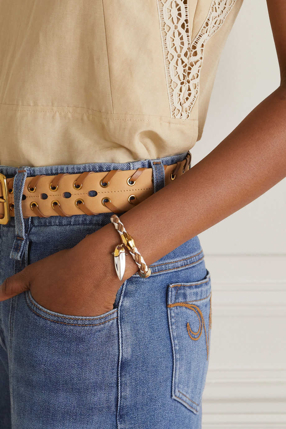 Chloé Bracelet en cuir, coton et métal doré et argenté