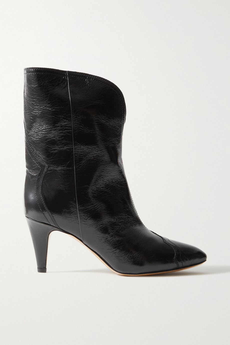 Isabel Marant Dytho crinkled glossed-leather ankle boots