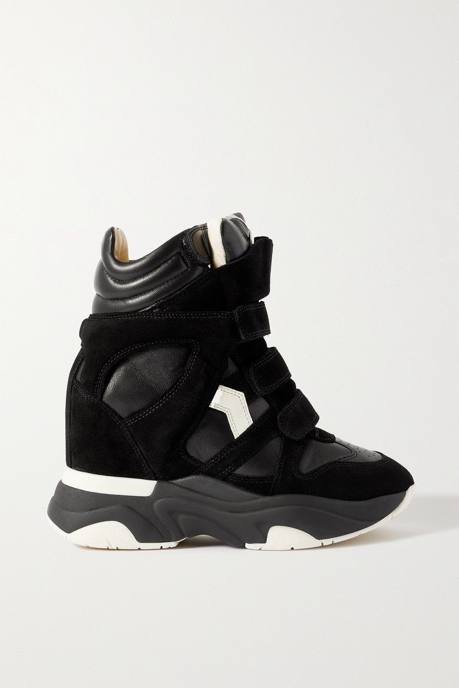 Isabel Marant Baskee leather and suede high-top wedge sneakers