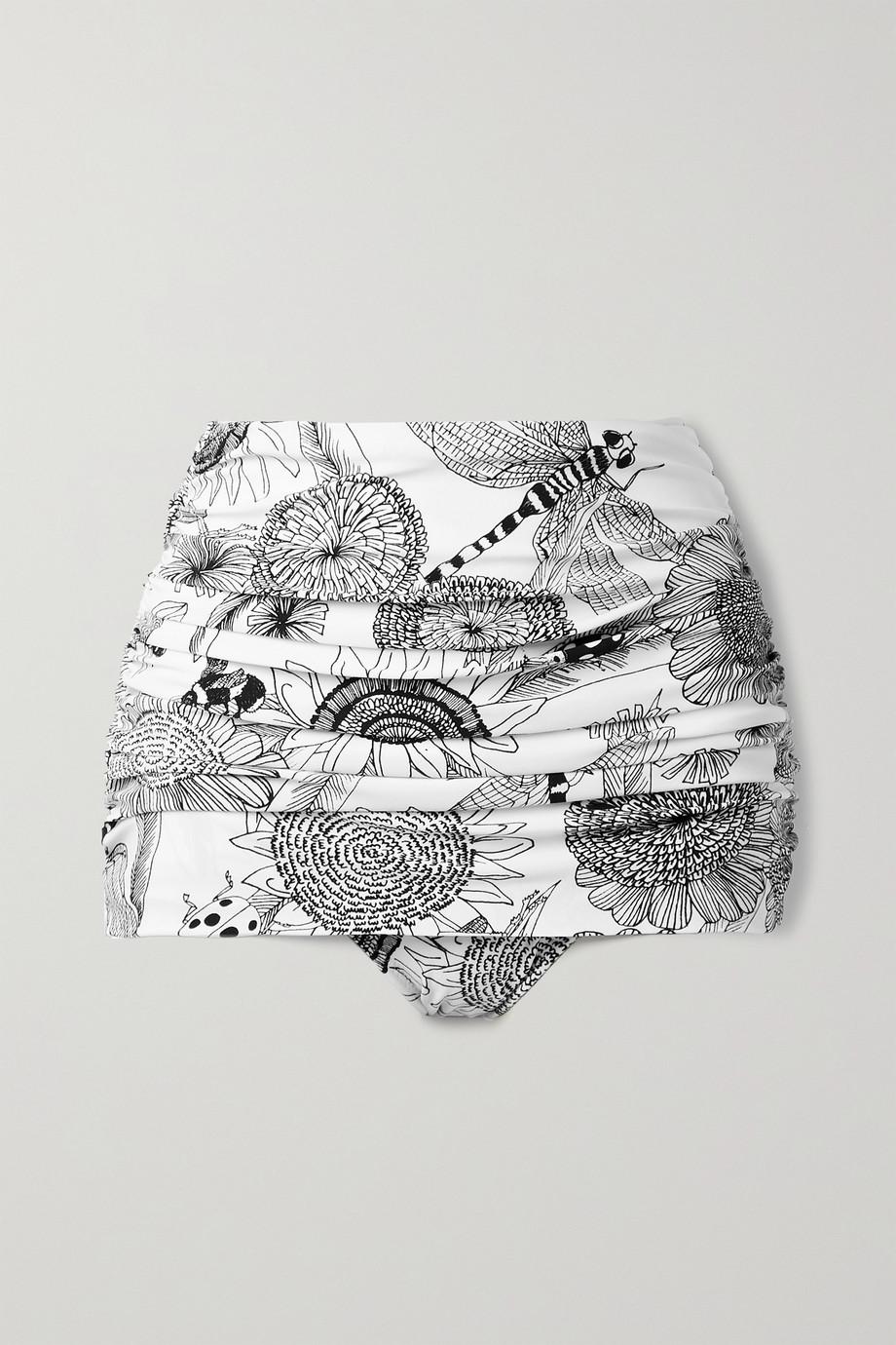 Norma Kamali Bill ruched printed bikini briefs