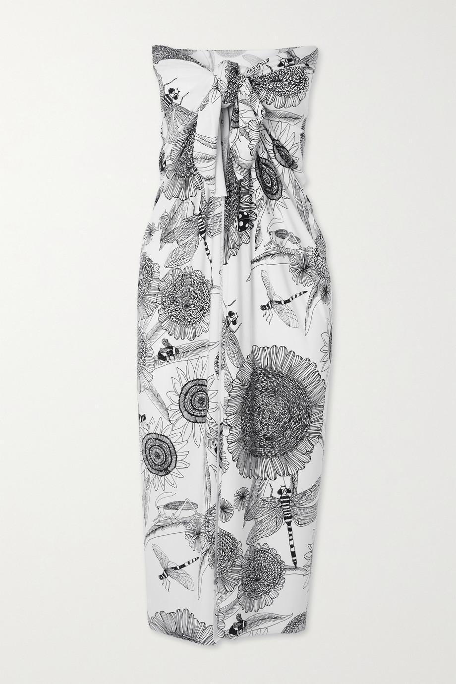 Norma Kamali Ernie printed stretch-jersey pareo