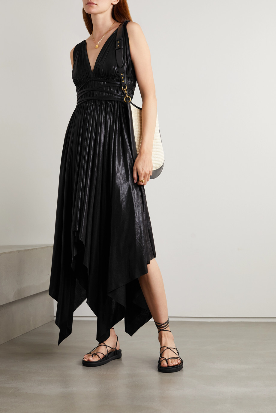 Norma Kamali Goddess asymmetric stretch-lamé dress