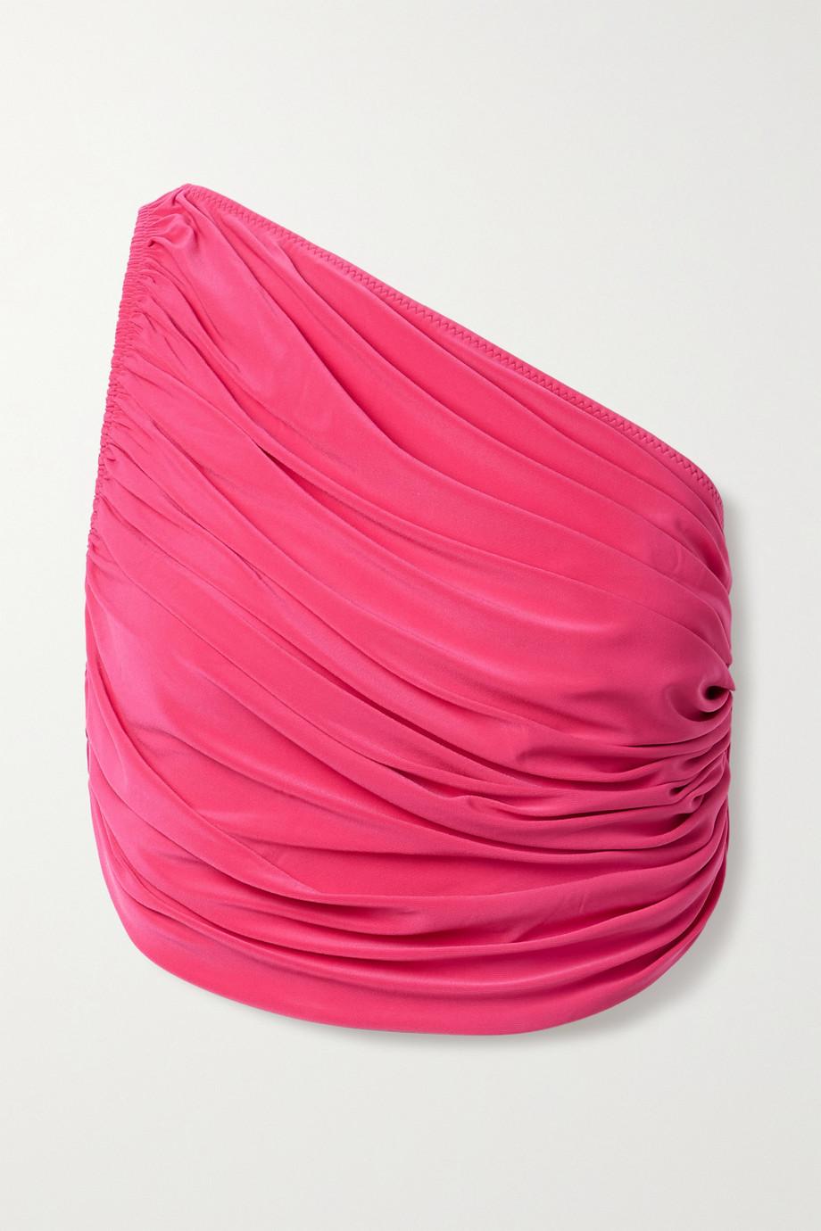 Norma Kamali Diana gerafftes Bikini-Oberteil mit asymmetrischer Schulterpartie