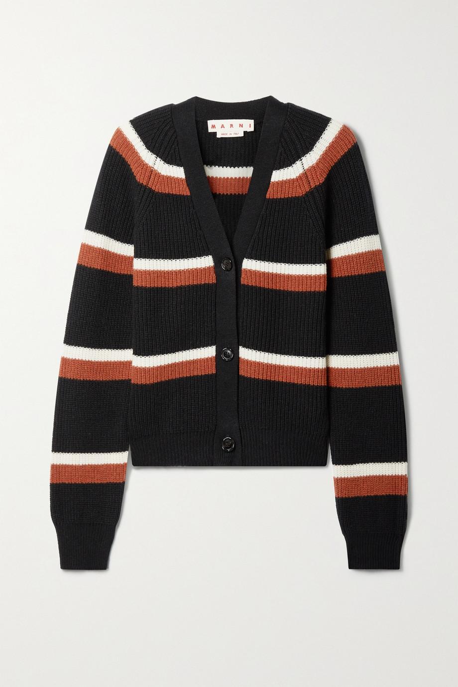 Marni Cardigan en laine côtelée à rayures