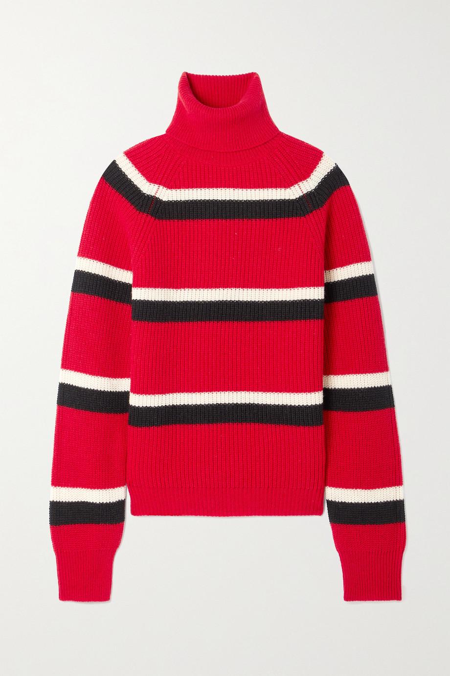 Marni Gestreifter Pullover aus gerippter Wolle mit Rollkragen