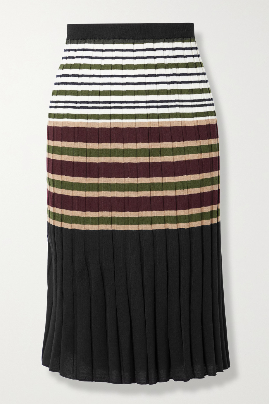 Marni Striped ribbed wool midi skirt