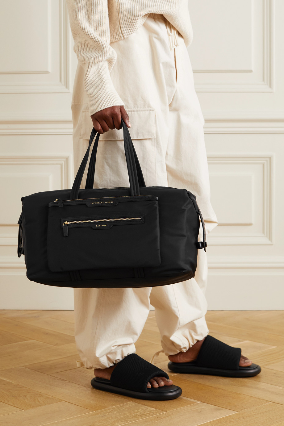 Anya Hindmarch Inflight leather-trimmed recycled shell weekend bag