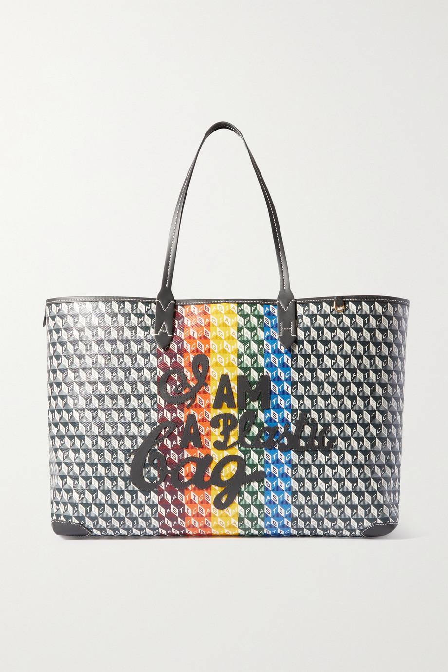 Anya Hindmarch + NET SUSTAIN I Am A Plastic Bag große Tote aus bedrucktem beschichtetem Canvas mit Lederbesätzen