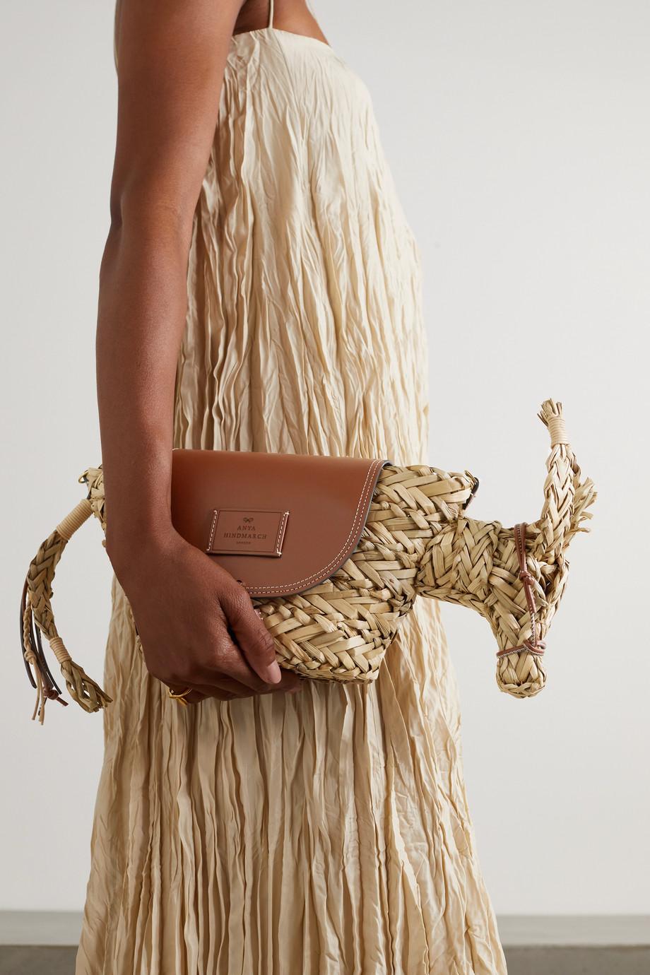 Anya Hindmarch Basket Donkey small raffia and leather shoulder bag