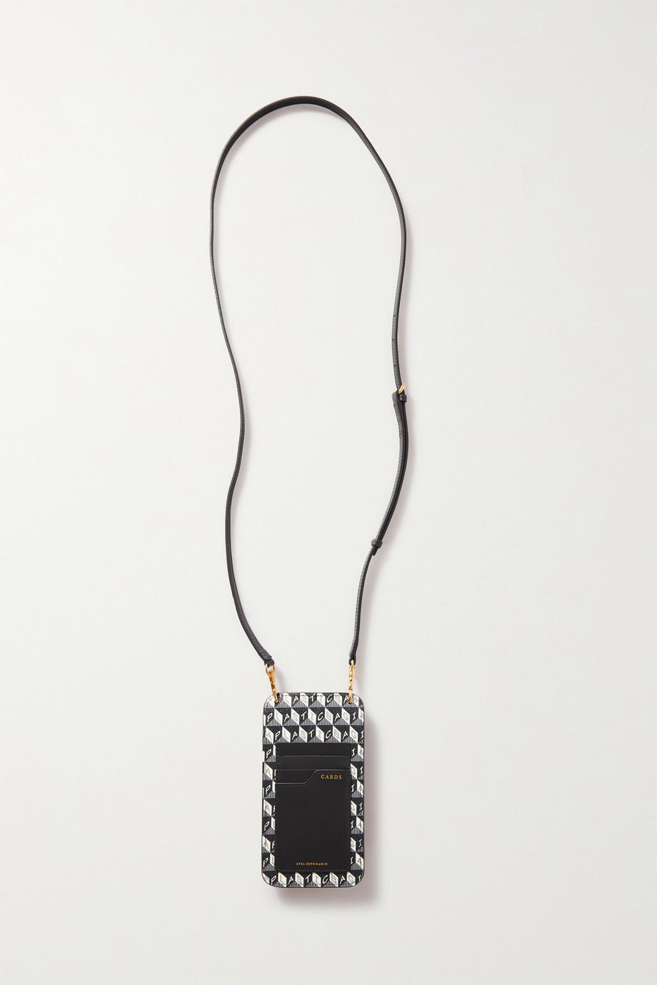 Anya Hindmarch Étui pour téléphone en toile enduite imprimée à finitions en cuir I Am a Plastic Bag