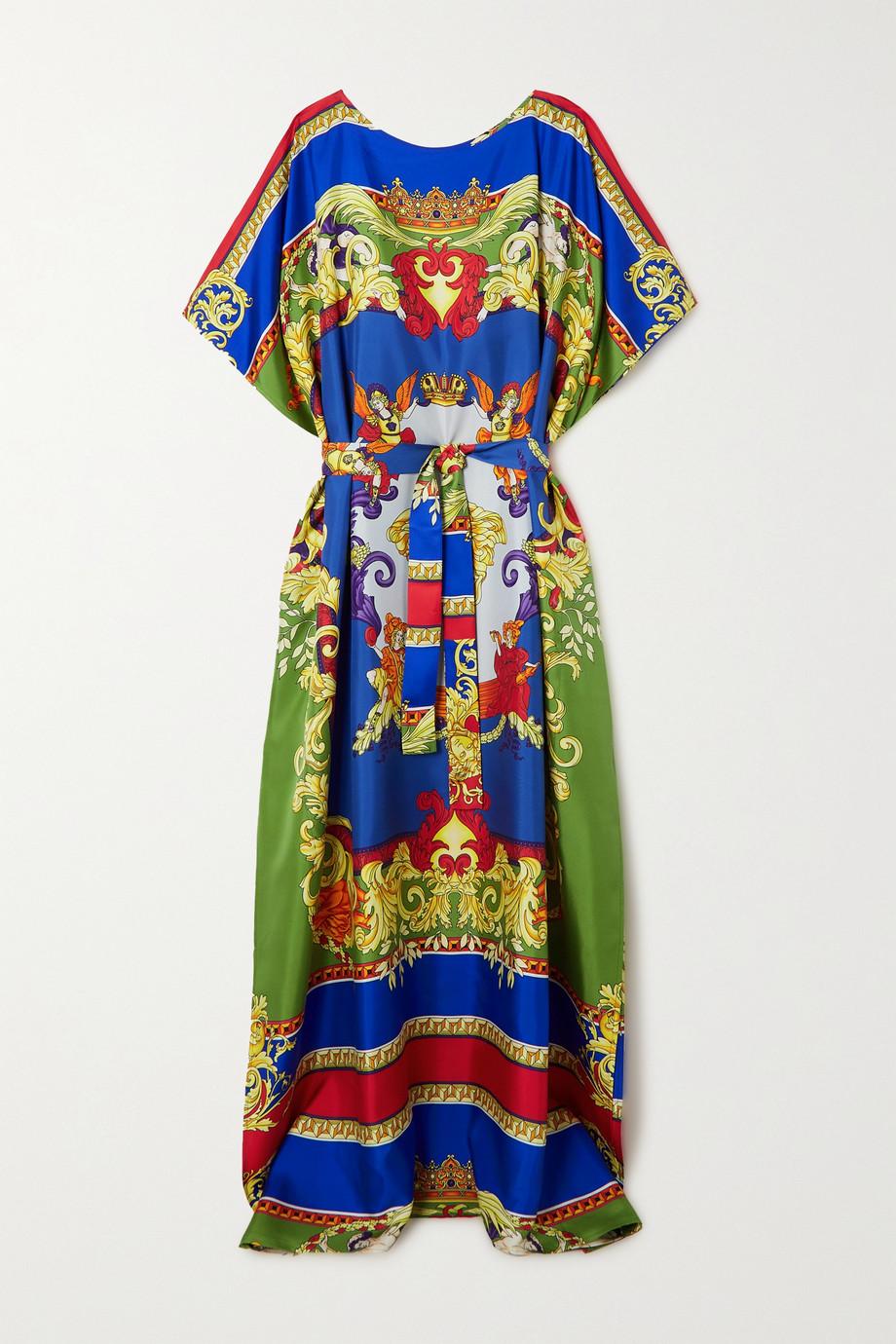 Versace Kaftan aus bedrucktem Seiden-Twill mit Bindegürtel