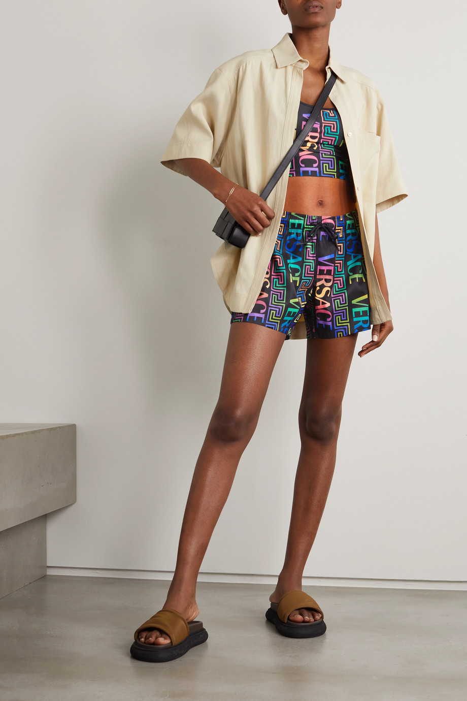 Versace Printed shell shorts