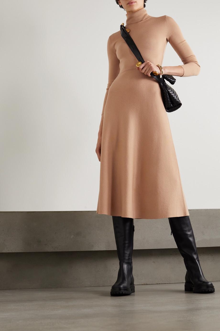 Gabriela Hearst Betti wool, cashmere and silk-blend turtleneck midi dress