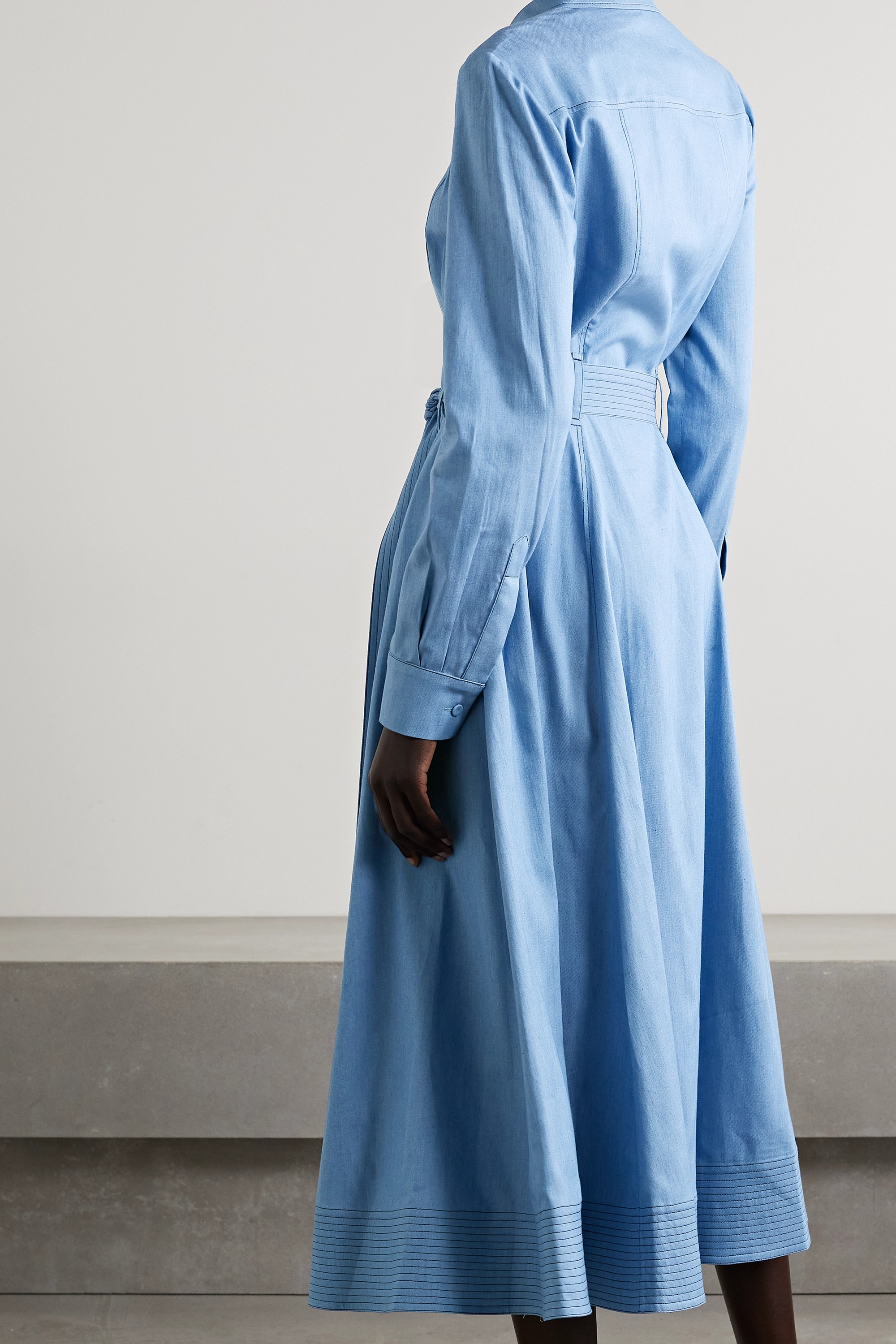 Gabriela Hearst Sola belted cotton and silk-blend chambray midi shirt dress