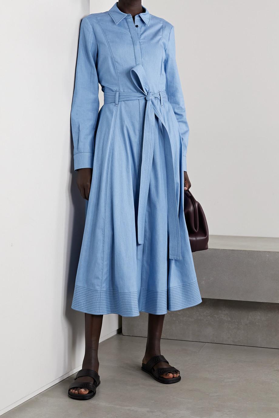 Gabriela Hearst Robe-chemise midi en chambray de coton et de soie mélangés à ceinture Sola