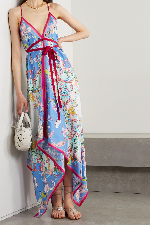 Etro San Diego asymmetrisches Kleid aus bedrucktem Seiden-Twill