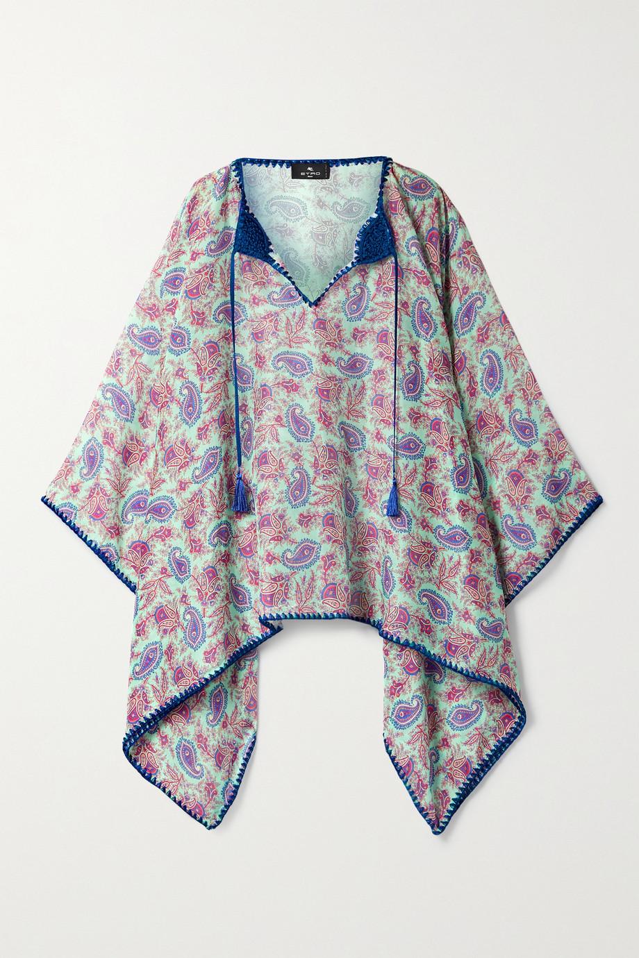 Etro Poncho en voile de coton et de soie mélangés imprimé à finitions en crochet