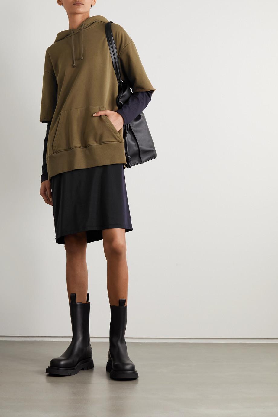 MM6 Maison Margiela Hooded layered cotton-jersey and matte-satin dress
