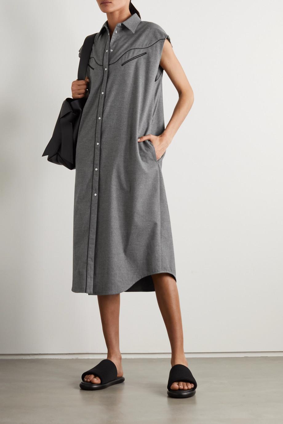MM6 Maison Margiela Midi-Hemdblusenkleid aus Flanell mit Paspeln