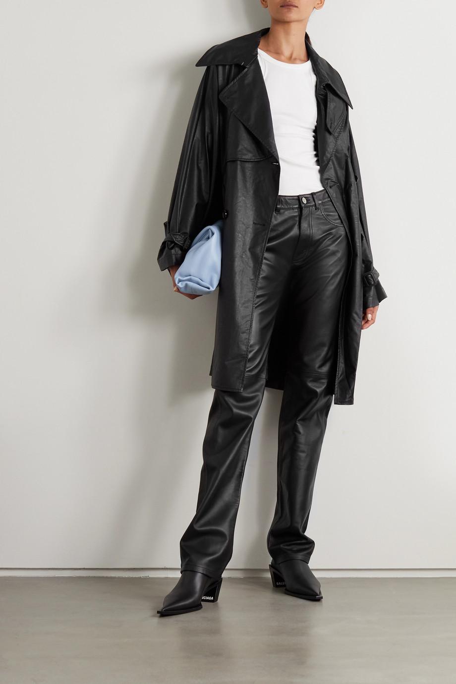 MM6 Maison Margiela Trench-coat à double boutonnage en cuir synthétique