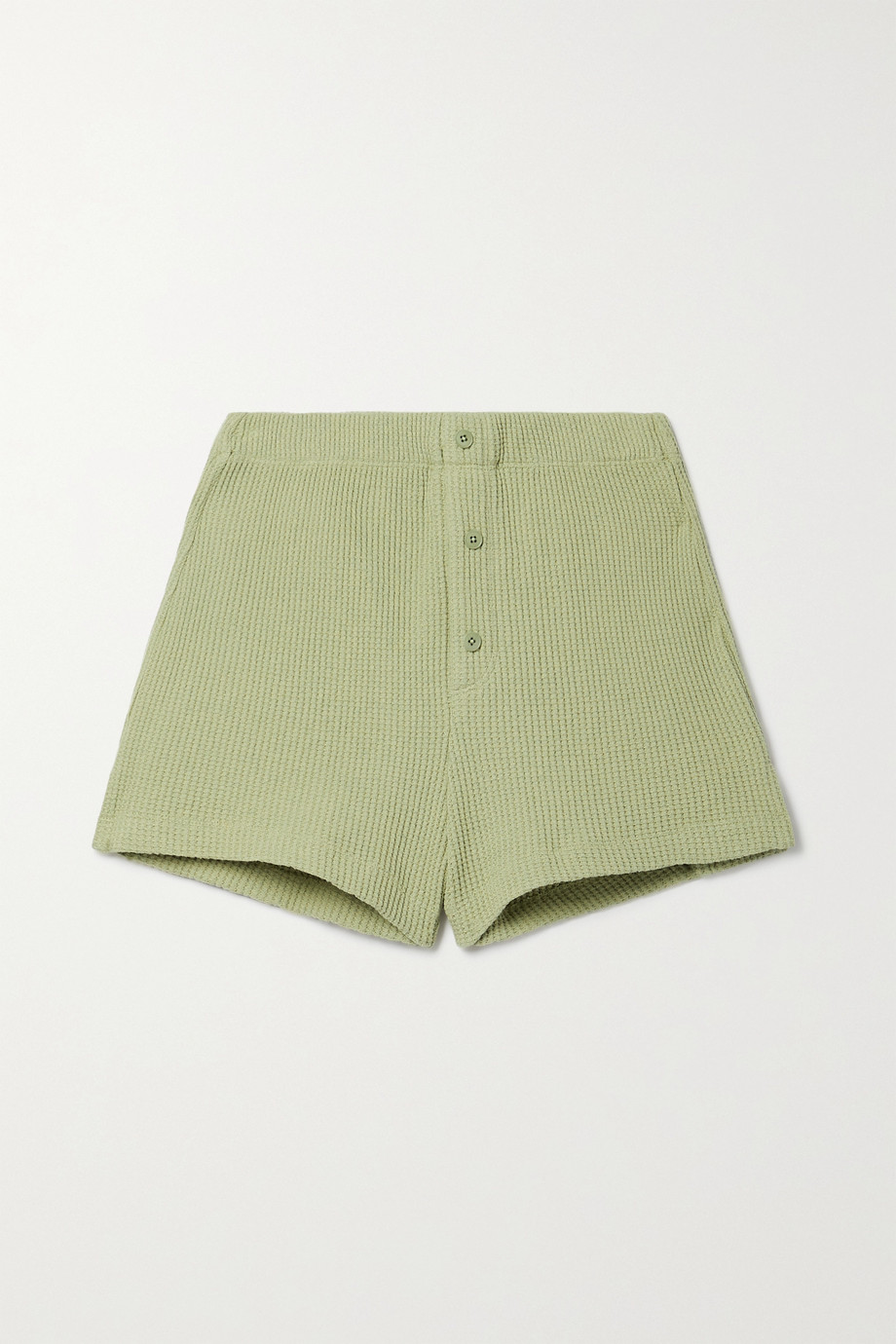 Reformation Dixon waffle-knit organic cotton shorts