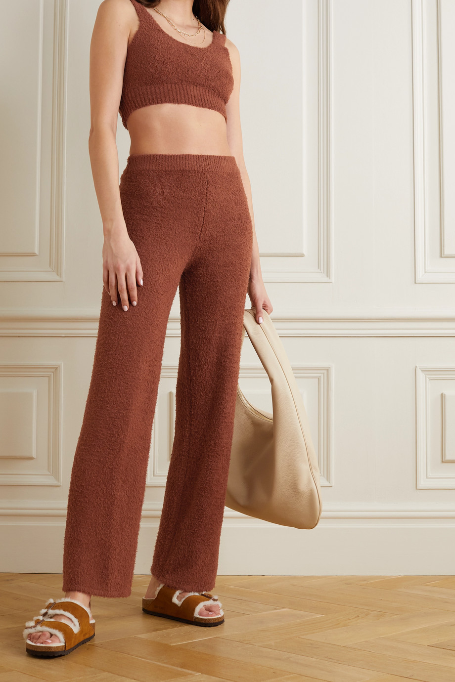 Reformation + NET SUSTAIN Isle organic cotton-bouclé cropped top and wide-leg pants set