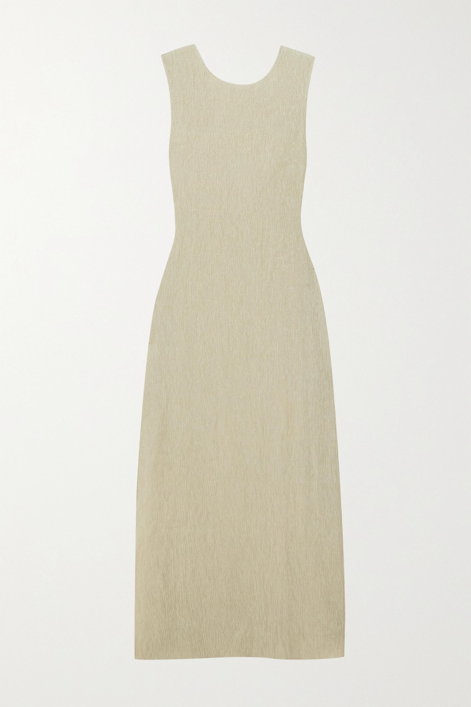 Reformation + NET SUSTAIN Jonah knotted cutout plissé-jersey dress
