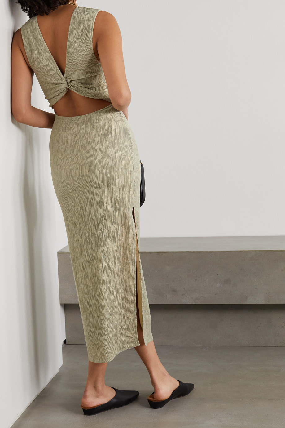 Reformation + NET SUSTAIN Jonah knotted cutout plissé-jersey dress