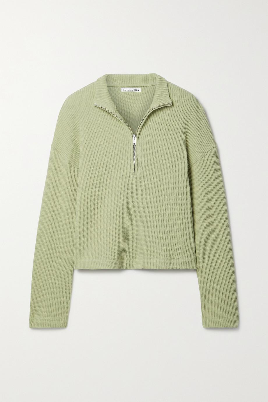 Reformation Yale waffle-knit organic cotton sweatshirt
