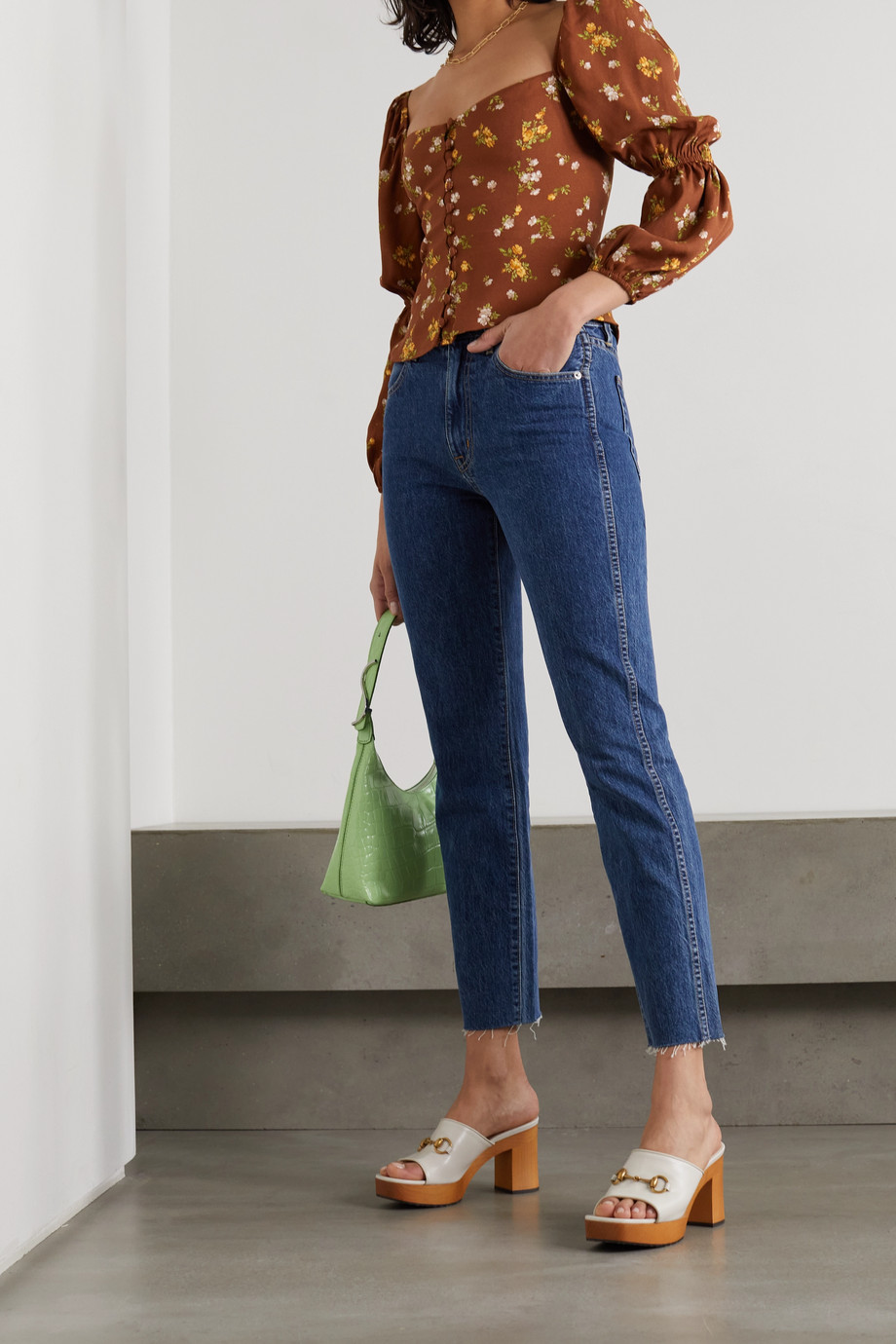 Reformation + NET SUSTAIN Cera gathered floral-print crepe blouse