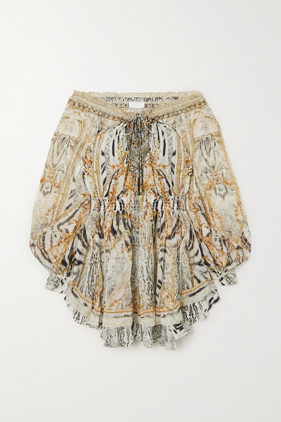 Camilla Mini-robe en mousseline de soie imprimée à fil coupé et à cristaux