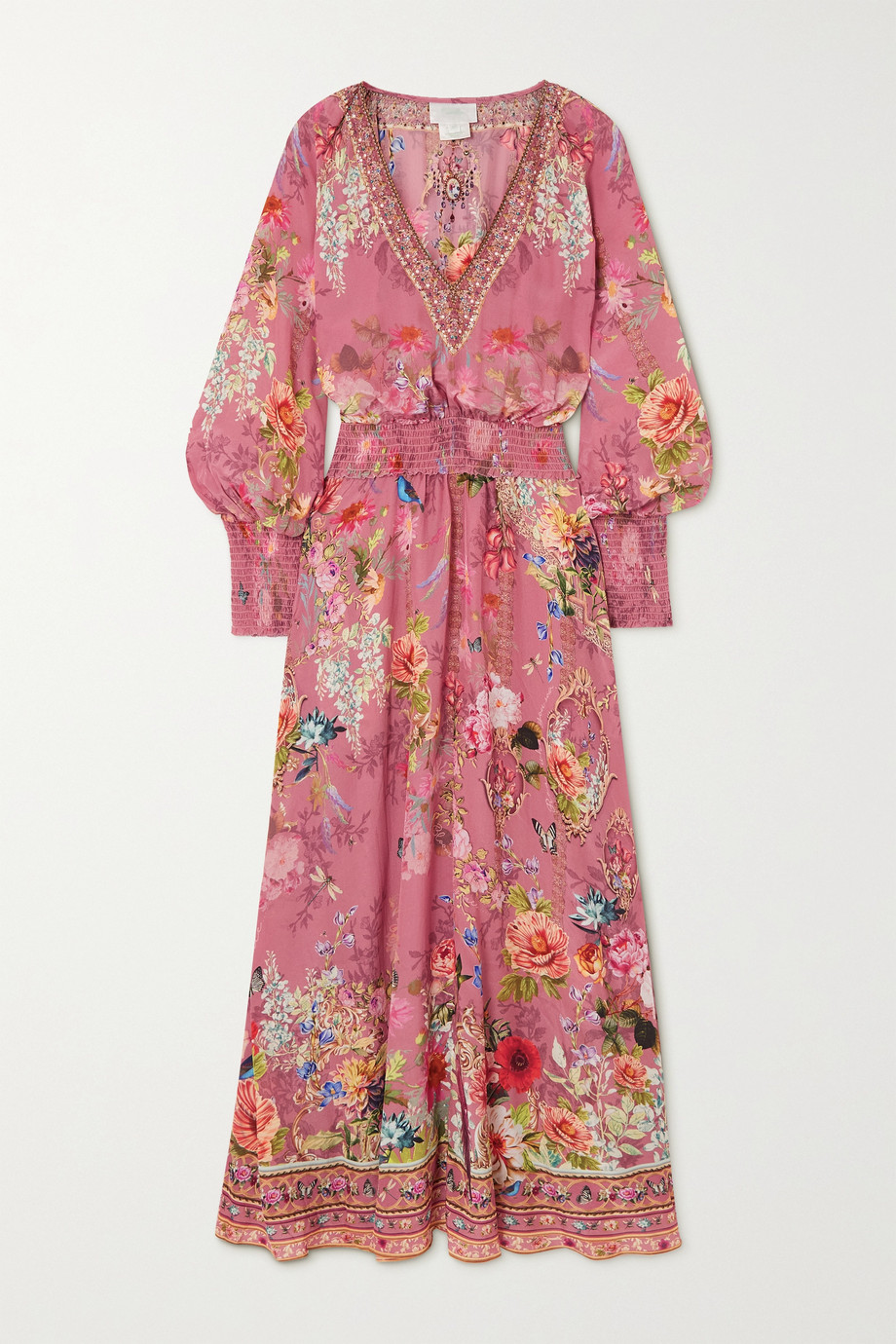 Camilla Embellished smocked silk crepe de chine maxi dress