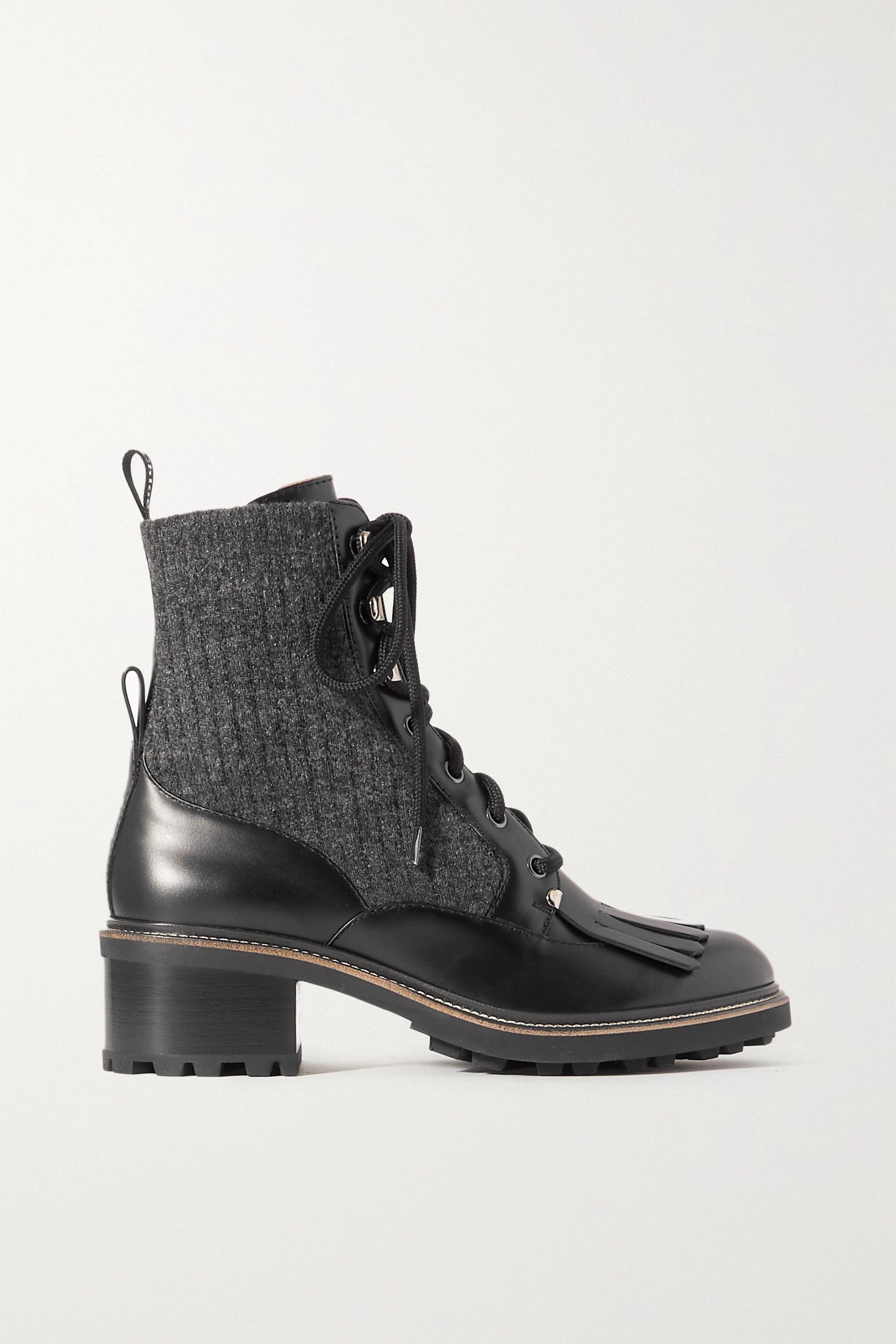 Chloé Franne tasseled leather and ribbed wool ankle boots
