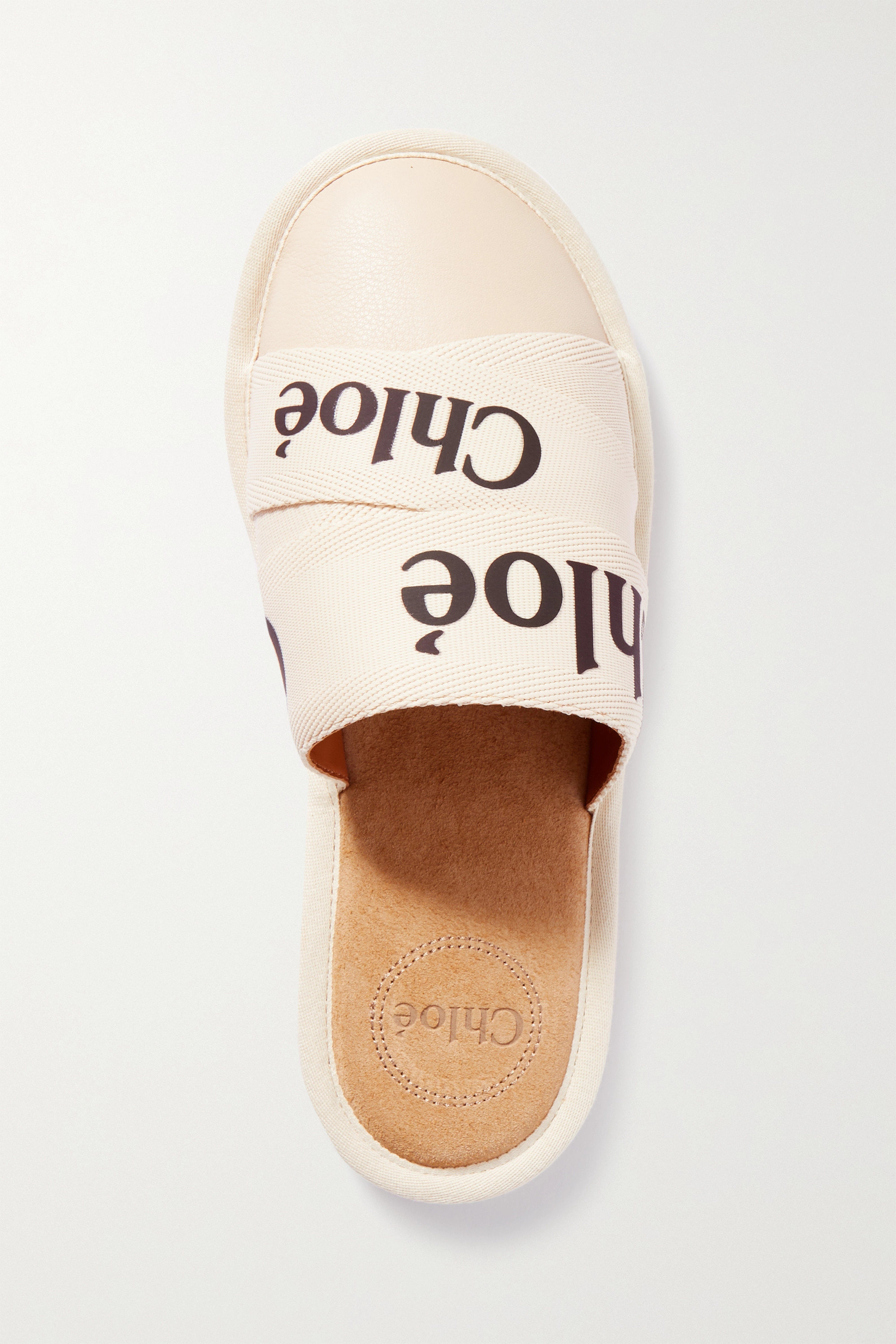 Chloé Woody logo-print canvas and leather slippers