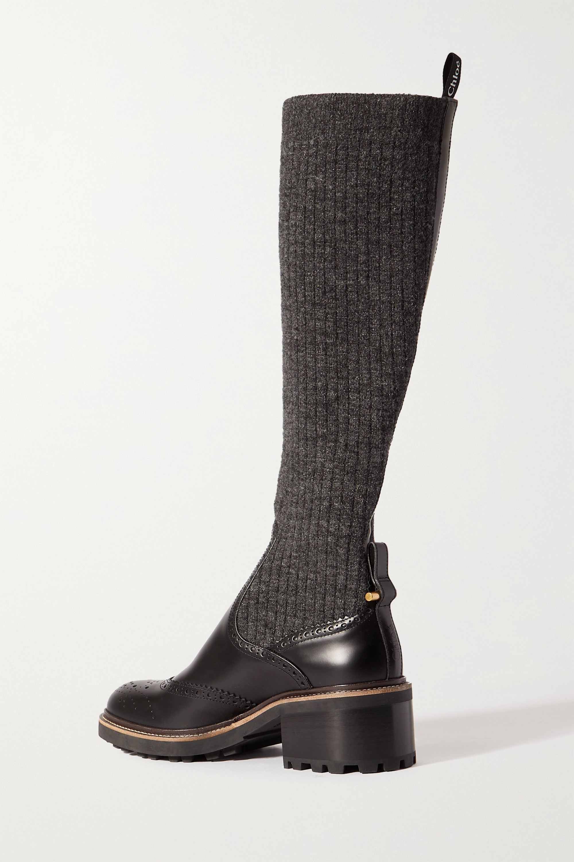 Chloé Franne ribbed-knit and leather knee boots
