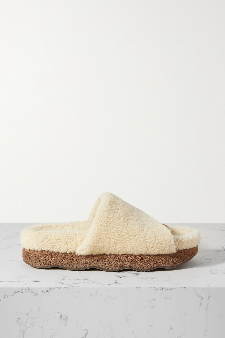 Chloé Wavy shearing and suede slides