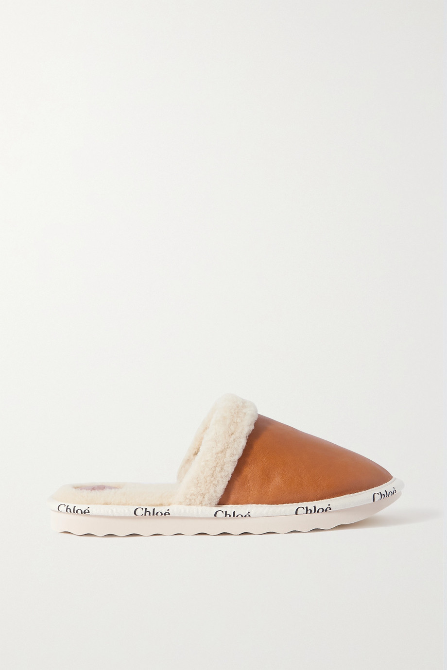 Chloé Woody logo-print leather and shearling slippers