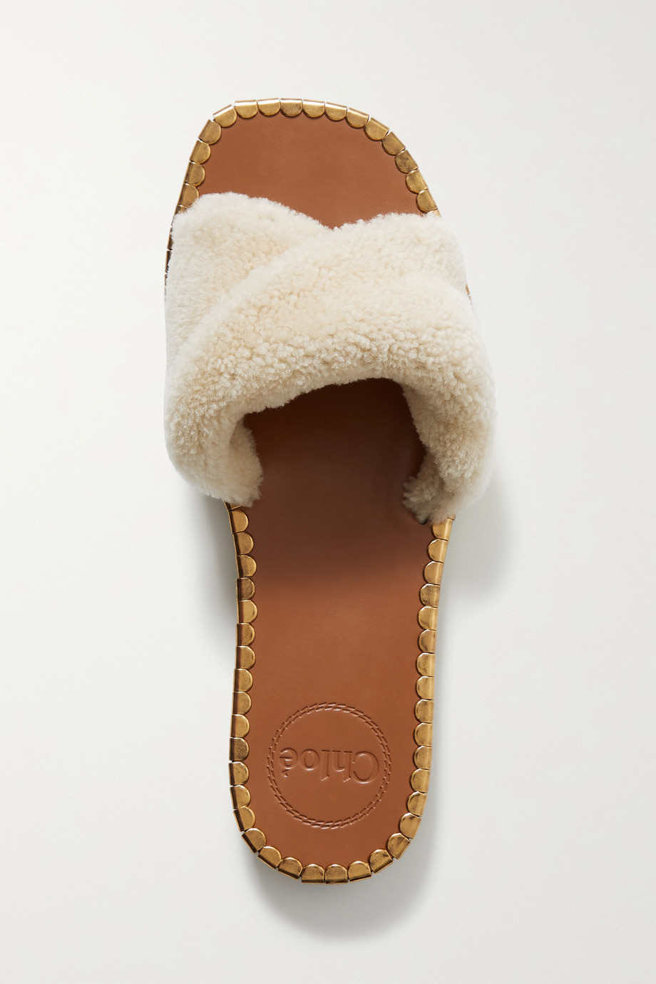 Chloé Idol embellished leather and shearling slides