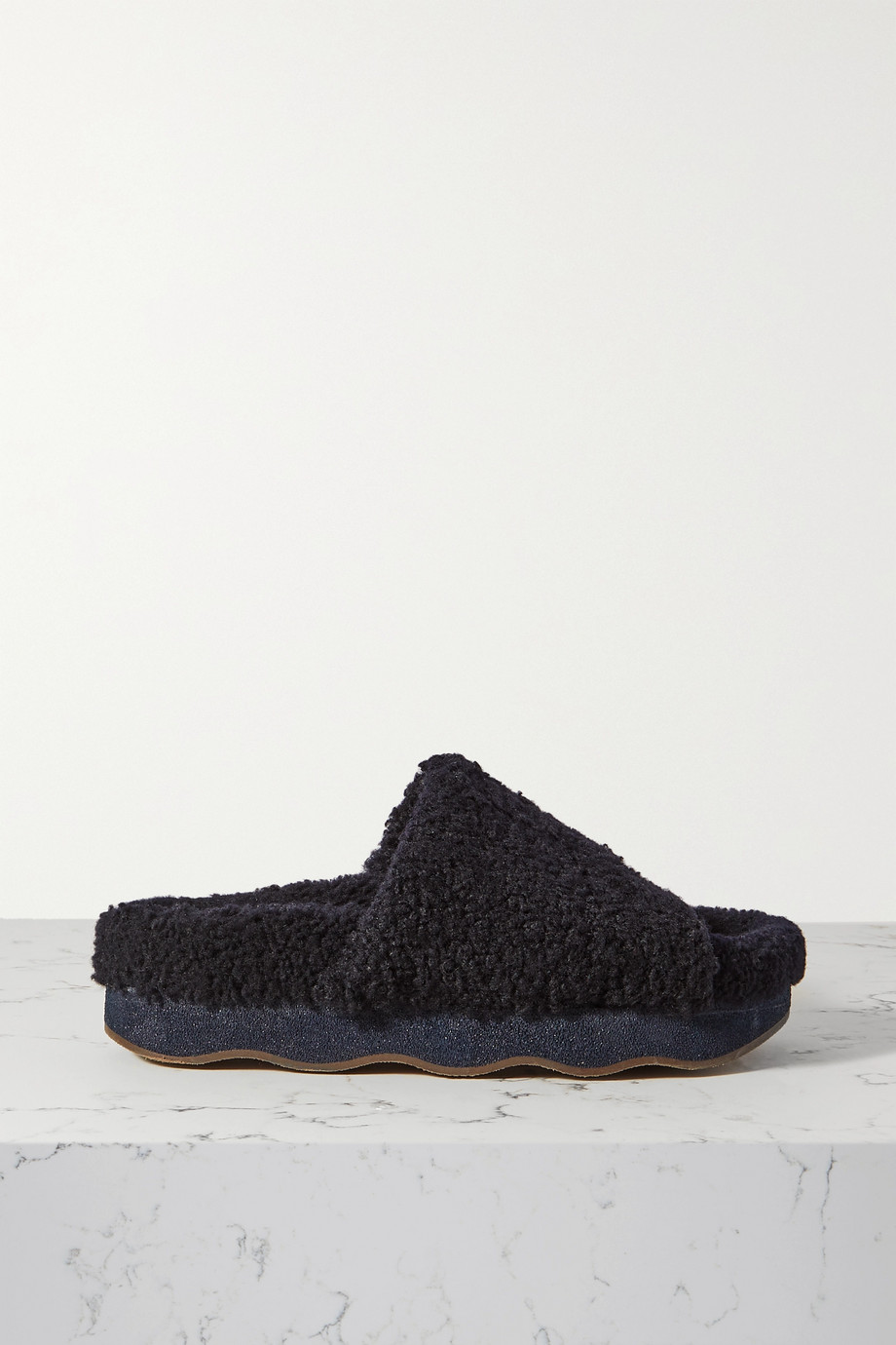 Chloé Wavy shearing and leather slides