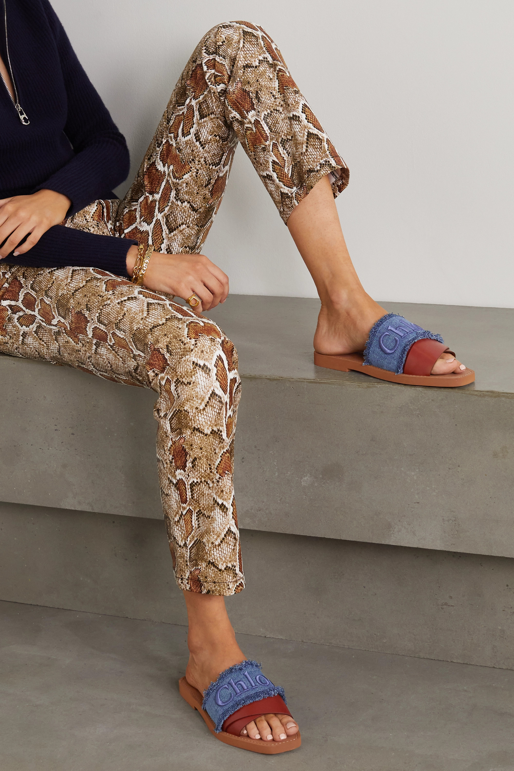 Chloé Woody frayed logo-embroidered denim and leather slides