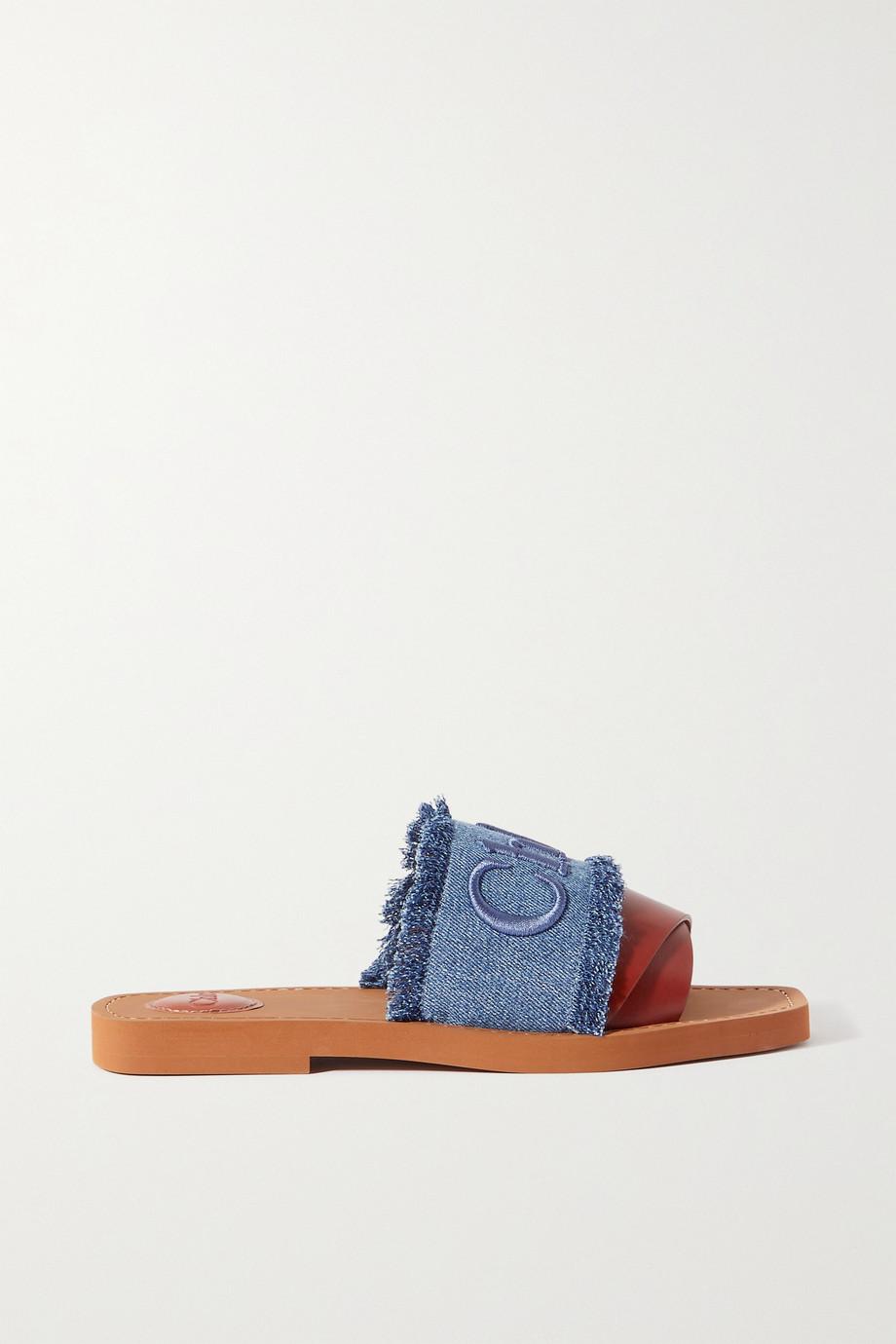 Chloé Claquettes en cuir et en jean effilé à logo Woody