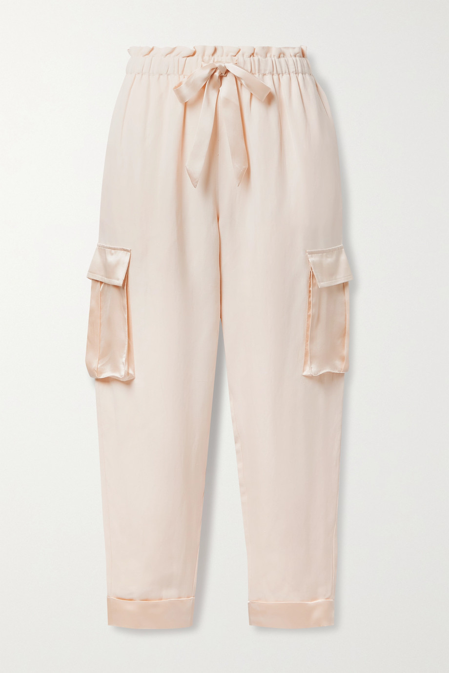 Cami NYC The Harley satin-trimmed silk and linen-blend track pants
