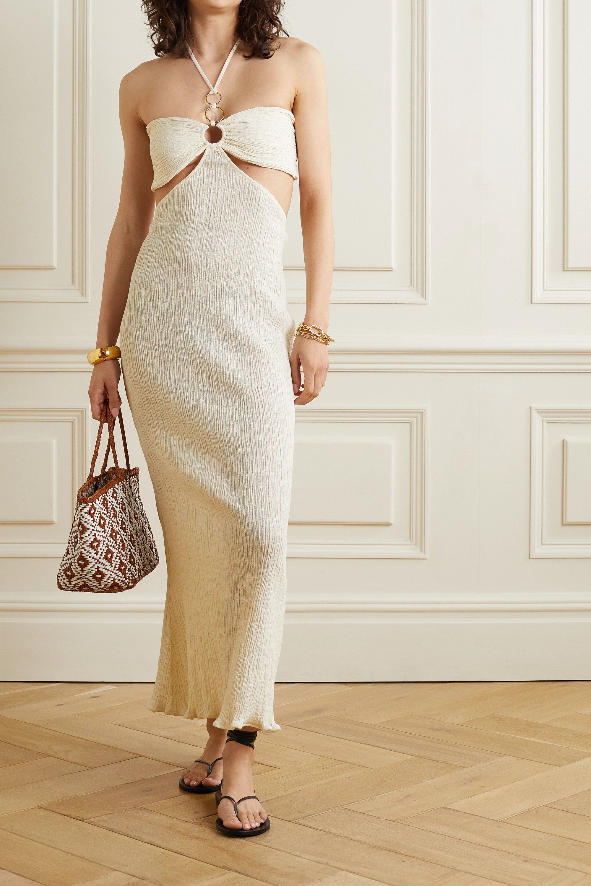 Savannah Morrow The Label + NET SUSTAIN Mina open-back crinkled organic cotton-gauze maxi dress