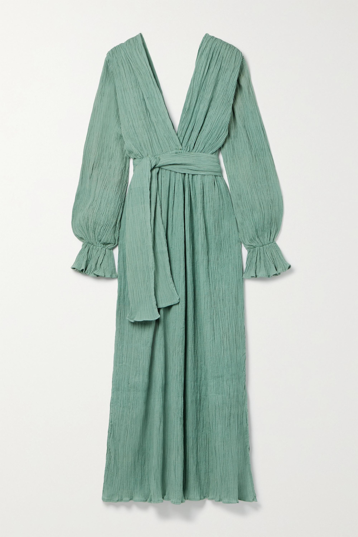 Savannah Morrow The Label + NET SUSTAIN Mahria belted crinkled organic cotton-gauze maxi dress